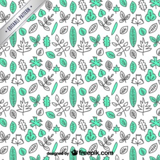 Tree Leaves Hand Drawn Pattern Free Vector