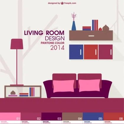 Trendy Living Room Pantone Design Free Vector