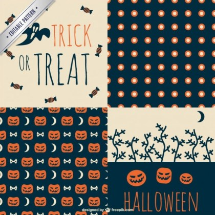 Trick Or Treat Halloween Pattern Set Free Vector