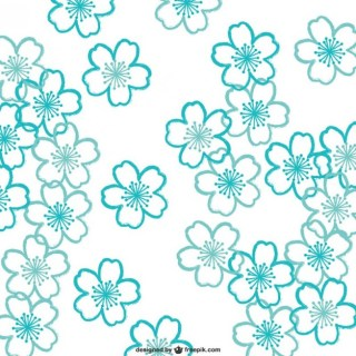 Turquoise Cherry Blossoms Pattern Free Vector
