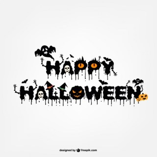 Typography Halloween Logo Design Free Vector