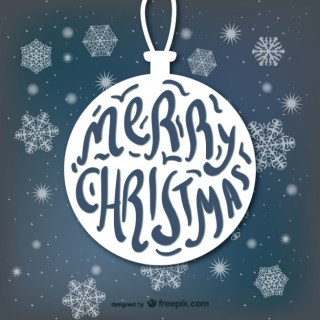 Typography with Christmas Ball Shape Free Vector