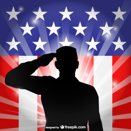 United States Flag Salute Free Vector