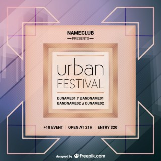 Urban Party Mock-Up Poster Free Vector