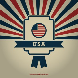 Usa Badge Sunburst Background Free Vector