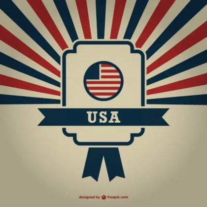 Usa Badge Sunburst Background Free Vector