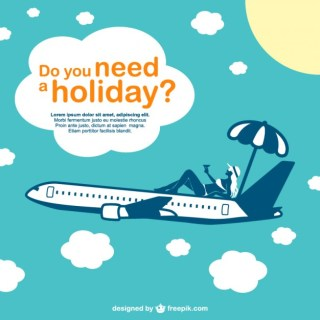 Vacation Airplane Design Free Vector