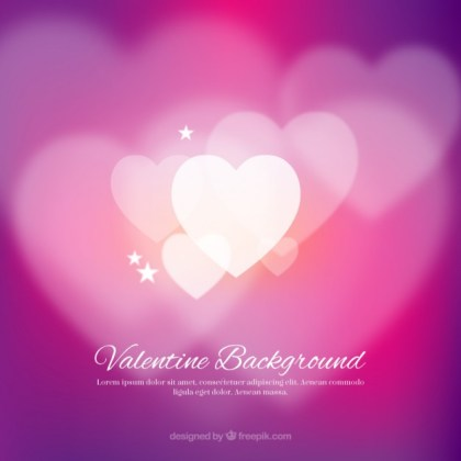 Valentine Background with White Blurred Hearts Free Vector