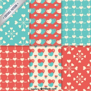 Valentine Heart Patterns Free Vector