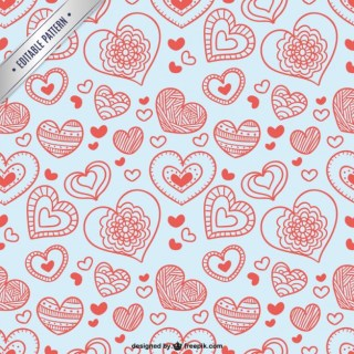 Valentine Pattern with Hearts Free Vector