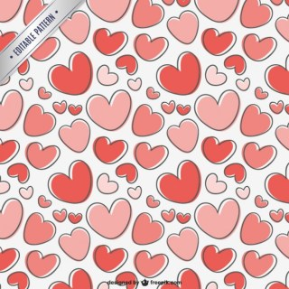 Valentines Day Pattern with Hearts Free Vector