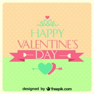 Valentine's Day Retro Card Polka Dots Heart Design Free Vector