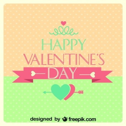 Valentine's Day Retro Card Polka Dots Heart Design Free Vector