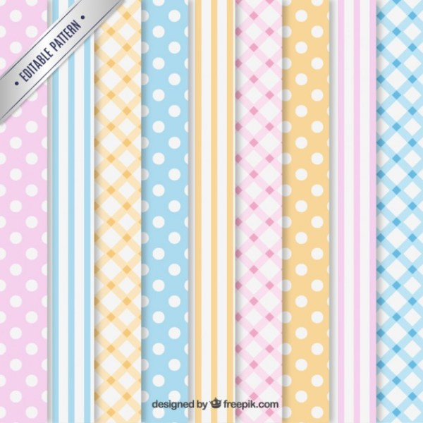 Variety of Pastel Patterns Free Vector