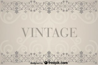 Vintage Background with Floral Retro Decorations Free Vector
