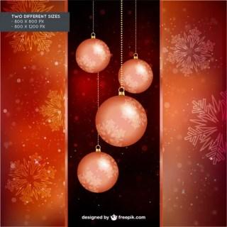 Vintage Christmas Balls Background Free Vector
