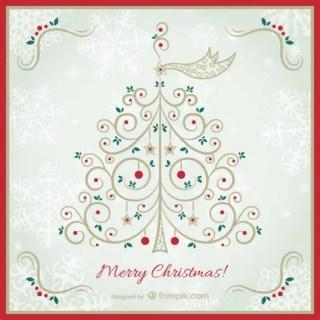 Vintage Christmas Card with Elegant Tree Free Vector