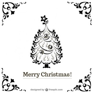 Vintage Christmas Tree Background Free Vector