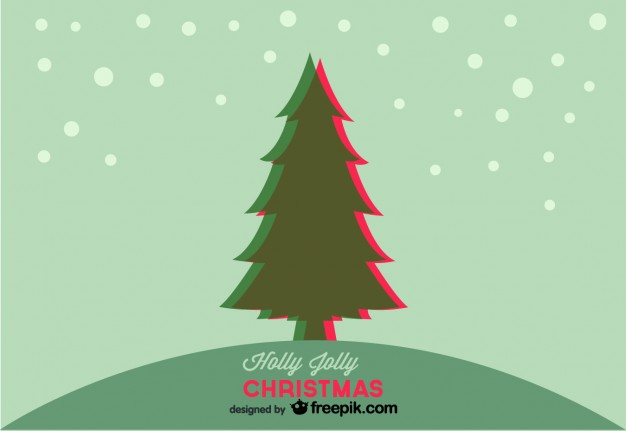 Vintage Christmas Tree with Snowing Background Free Vector