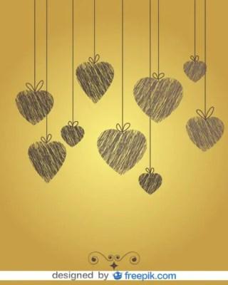 Vintage Doodle Heart Background Free Vector