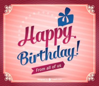 Vintage Happy Birthday Design Free Vector