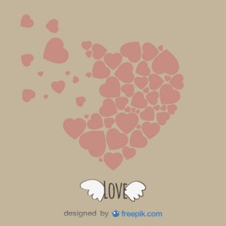 Vintage Heart Shape and Wings Template Design Free Vector