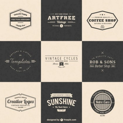 Vintage Insignia Elements Free Vector