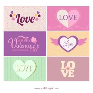Vintage Valentine Cards Free Vector