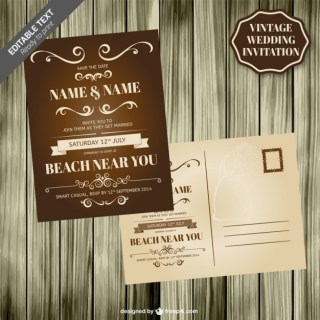 Vintage Wedding Card Wooden Template Free Vector