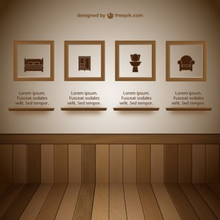 Wall with Frames Exhibit Room Free Vector