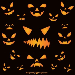 Wallpaper of Halloween Horror Faces Free Vector