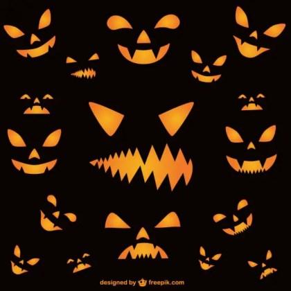 Wallpaper of Halloween Horror Faces Free Vector