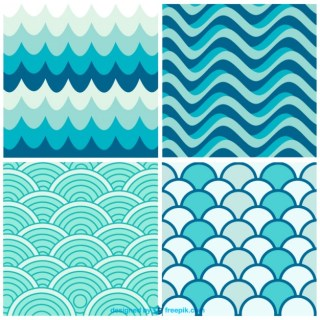 Water Waves Retro Patterns Free Vector