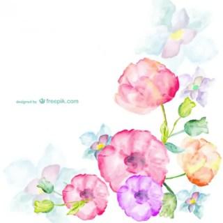 Watercolor Flowers Greetings Card Free Vector