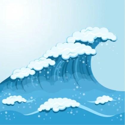 Wave Cartoon Background Free Vector