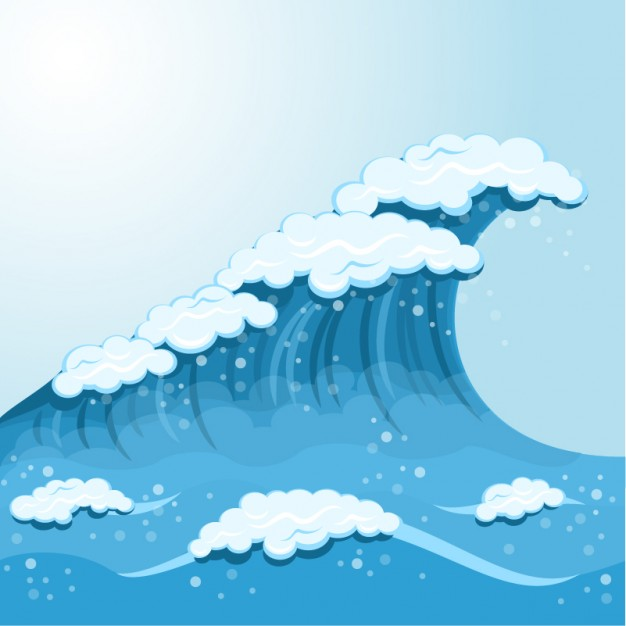 Wave Cartoon Background Free Vector