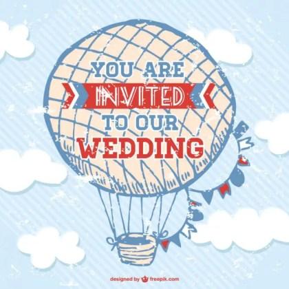 Wedding Card Air Balloon Design Free Vector