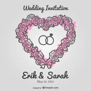 Wedding Floral Heart Invitation Free Vector