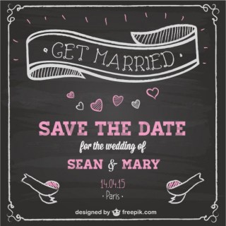 Wedding Invitation Chalkboard Design Free Vector
