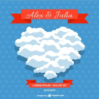 Wedding Invitation Heart Clouds Design Free Vector