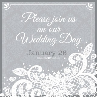 Wedding Invitation Lace Template Free Vector