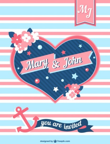 Wedding Invitation with Blue and Pink Heart Free Vector