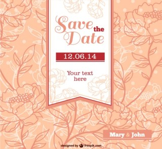 Wedding Invitation with Flowers Free Vector