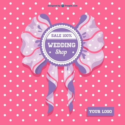 Wedding Sale Ribbon Card Free Vector