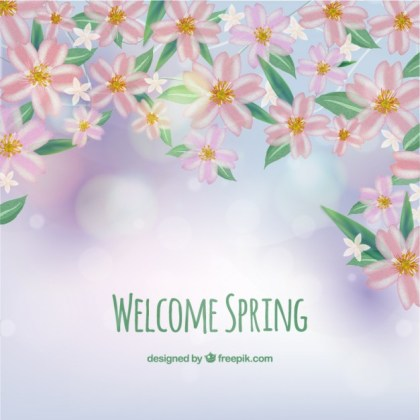 Welcome Spring Background Free Vector