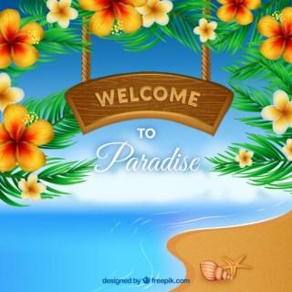 Welcome to Paradise in A Wooden Signboard Free Vector