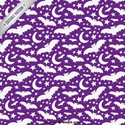 White and Purple Halloween Pattern Free Vector