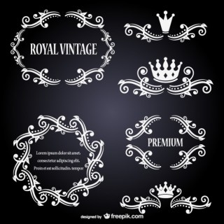 White Ornaments Set Free Vector