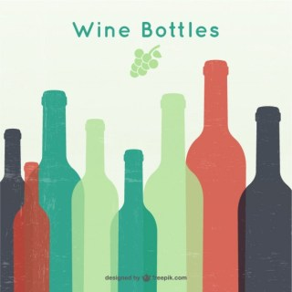 Wine Bottles Silhouettes Free Vector