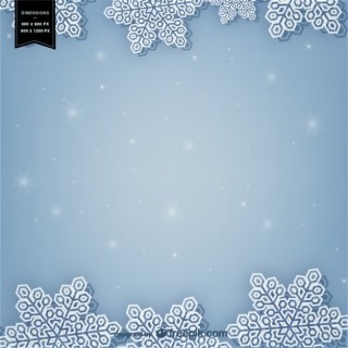 Winter Background with White Snowflakes Free Vector